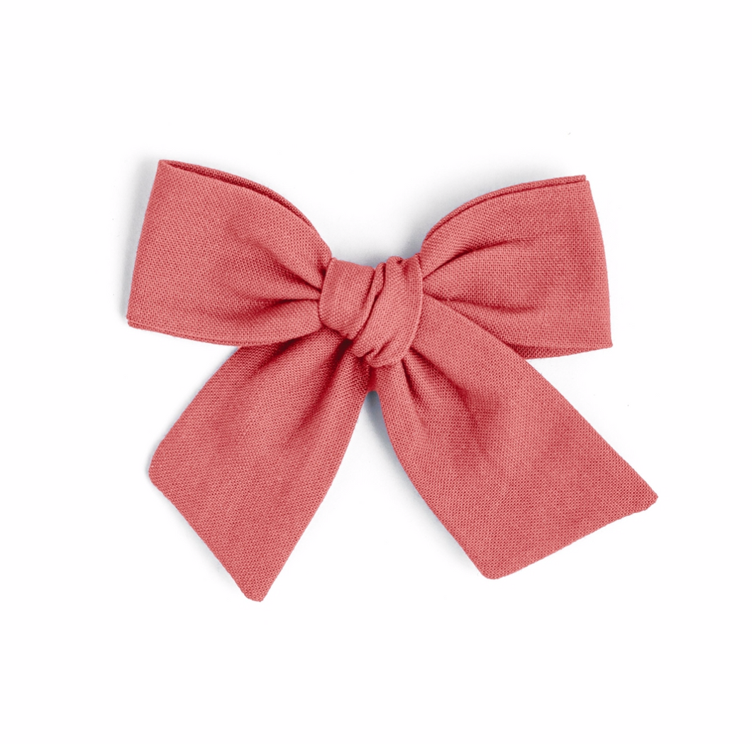 coral rose bow with reversible clip
