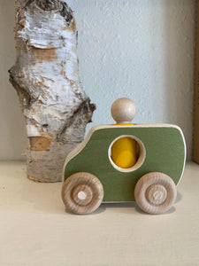 wooden green van