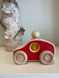 wooden red race car