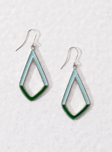 Hollow contemporary geometric earrings with blue and green enamel. Slightly rustic and lopsided.