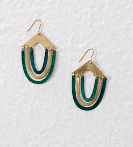 Contemporary earrings made of flat golden brass sheets and finished with green enamel patina effect.