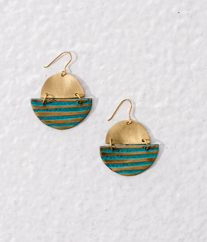 Geometric golden brass earrings with a blue patina finish in the form of stripes. Ethically made.