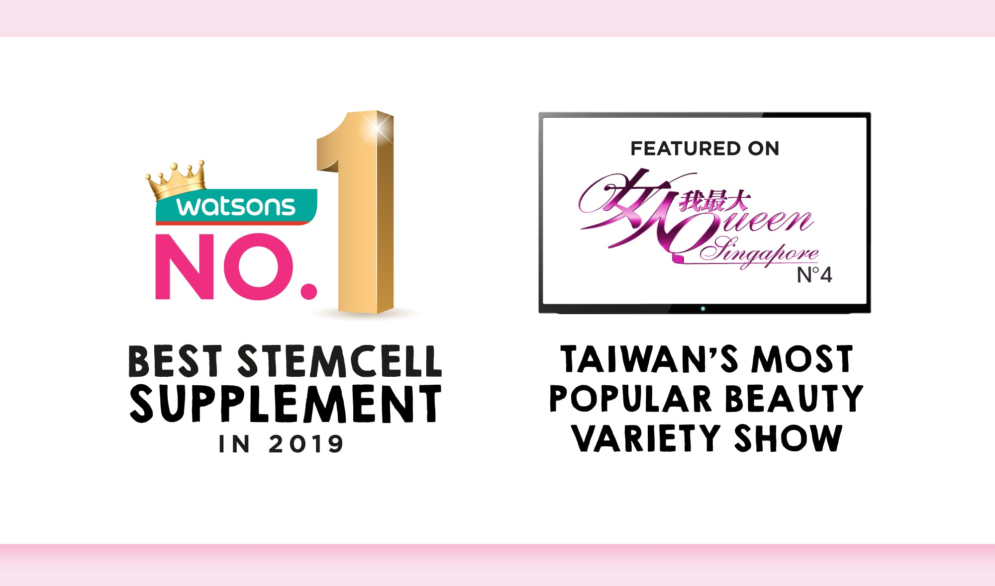 Avalon® Stemcell Beauty Drink is awarded the No.1 Best Stemcell Supplement by Watsons Singapore in 2019 and 2020. It is also featured in Taiwan's Most Popular Beauty Variety Show.