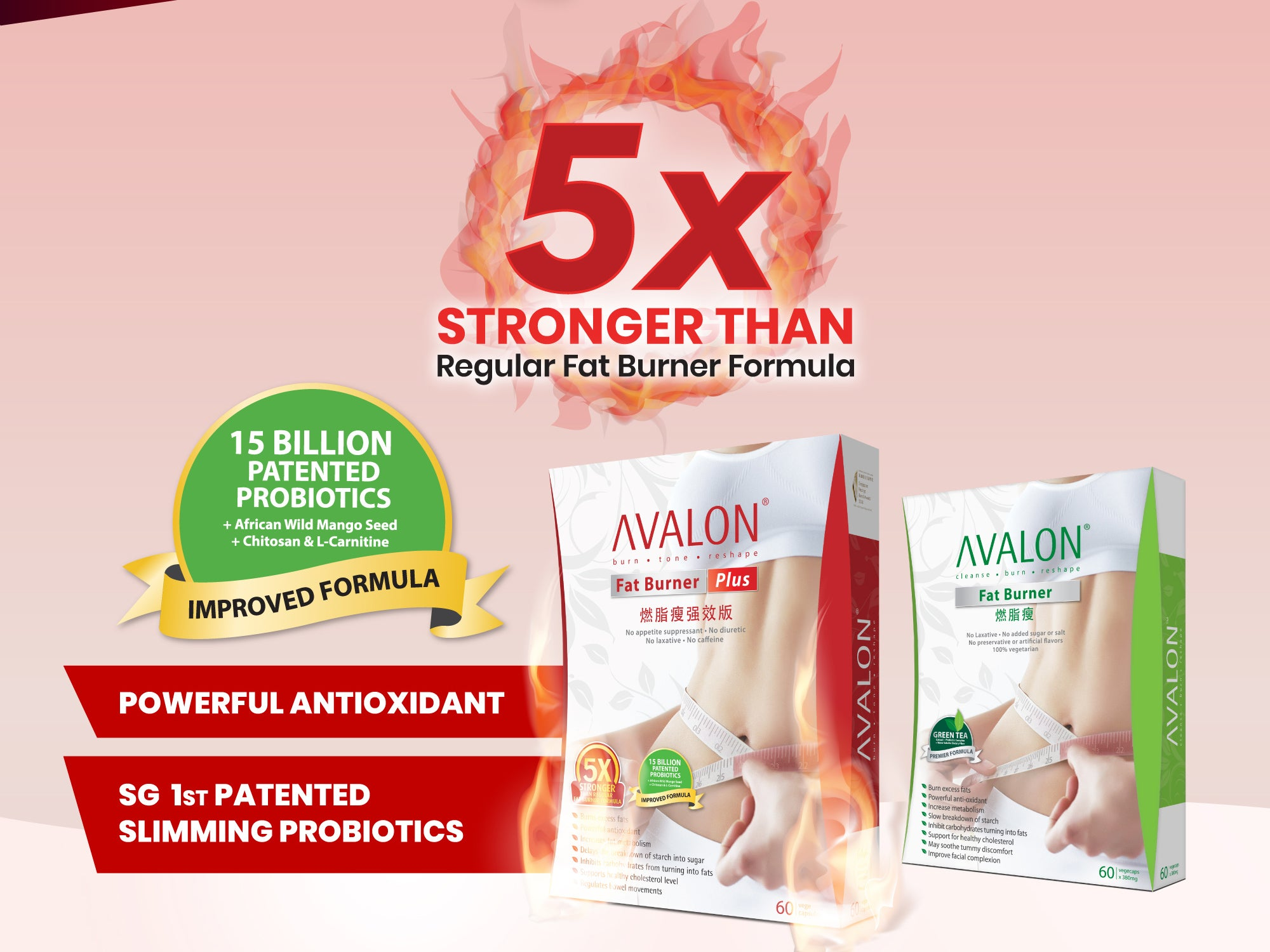 AVALON® Fat Burner Plus Improved Formula is proven to be 5 times stronger than regular fat burning formulas. It is a powerful antioxidant formula that is enhanced with 1.5 billion Singapore first patented slimming probiotics to help regulate bowel movements.