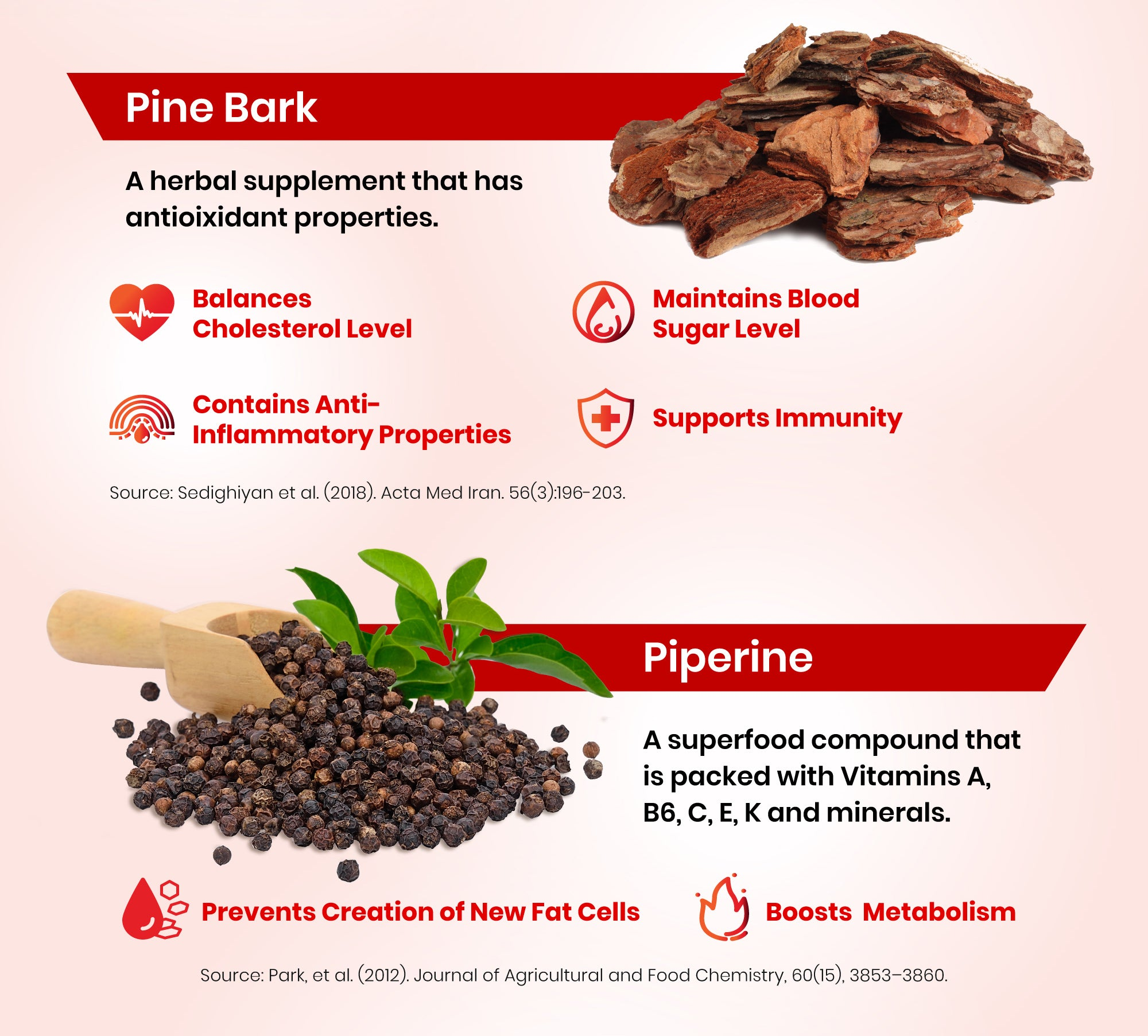 Pine bark, an herbal supplement that contains antioxidant and anti-inflammatory properties. Also, Piperine, a superfood that is packed with vitamins A, B6, C, E, K, and minerals for inhibiting the creation of new fat cells.