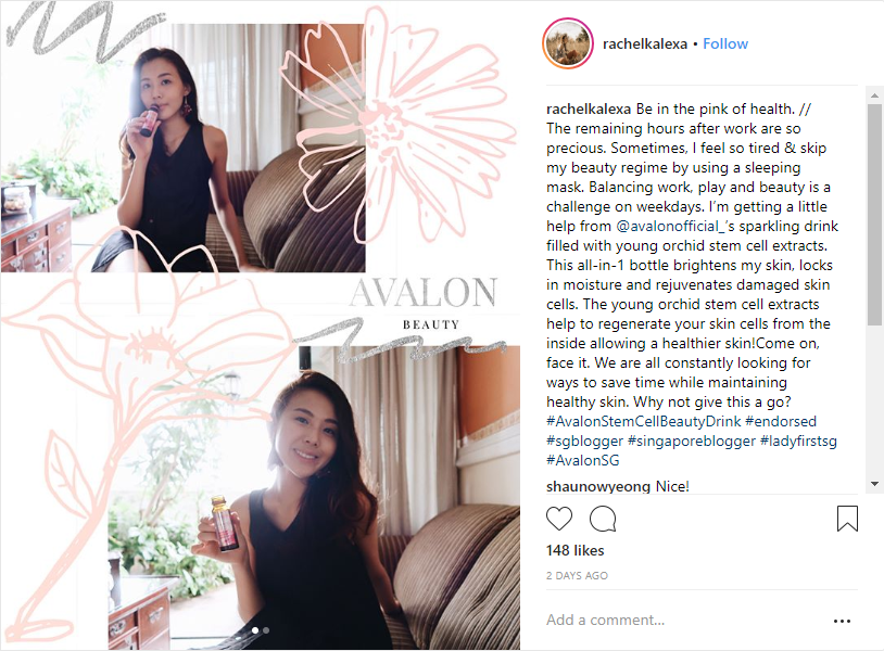 Rachel SG Beauty Influencer Avalon Stemcell Beauty Drink