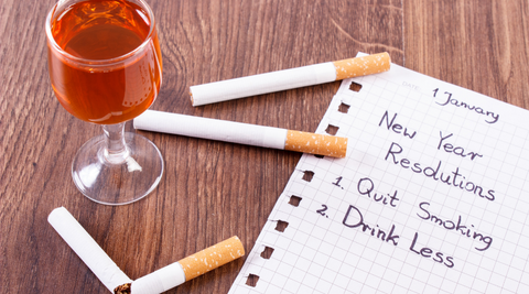 Smoking cigarette and drinking too much alcohol affecting detoxing