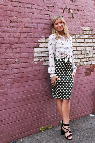 Knit Pull On Green Dot Skirt