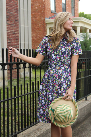 Short Sleeve Floral Shirt Dress