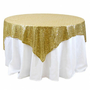 "Sequin Overlay 54"" × 54"" Sparkly Shiny Tablecloth Design 4 COLORS WEDDING Party"