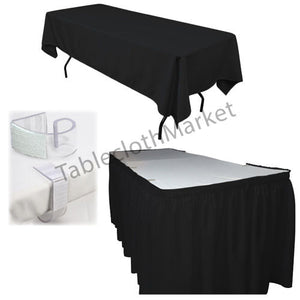 POLYESTER PLEATED TABLE SET SKIRT with clips 17' Ft + clip + Topper Media Day