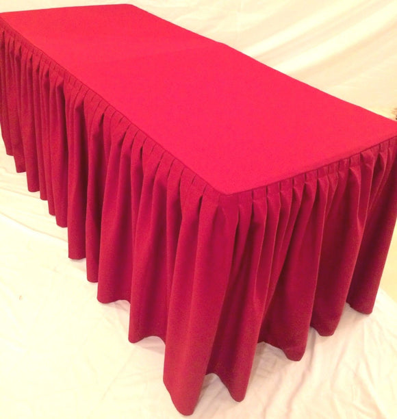 6' Ft. Fitted Polyester Double Pleated Table Skirt Cover W/top Topper Shows Red