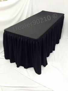 6' Ft. Fitted Polyester Double Pleated Table Skirt Cover W/top Topper Black""