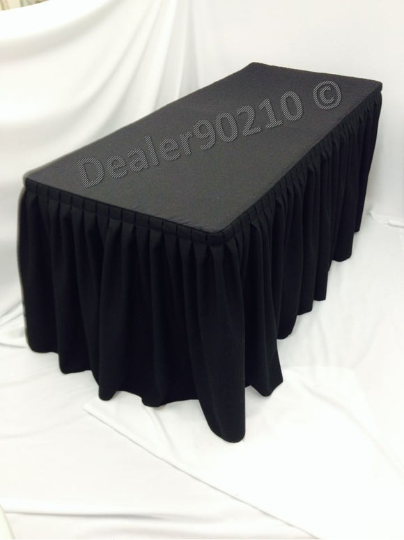 6' Ft. Fitted Polyester Double Pleated Table Skirt Cover W/top Topper Black