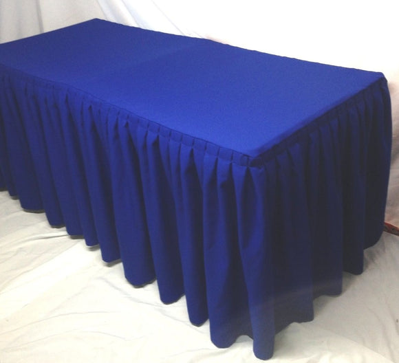 6' Fitted Polyester Double Pleated Table Skirting Cover W/top Topper  Royal Blue