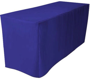 6' Ft. Fitted Polyester Table Cover Trade Show Booth Dj Tablecloth Royal Blue""