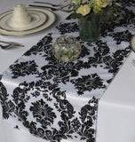 "12"" X 108"" Flocking Damask Table Runner Black White Flocked Velvet Wedding Home"""