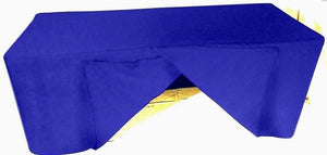 6' Ft. Fitted Slit Open Back Polyester Tablecloth Shows Table Cover Royal Blue""