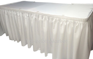 14' White Polyester Pleated Table Skirt Skirting  Wedding Trade Show Booth""