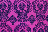 "10 Yards Fuchsia Black Flocking Damask Taffeta Velvet  Fabric 58"" Flocked Decor"""