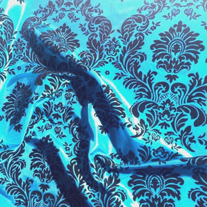 "5 Yards Turquoise Black Flocking Damask Taffeta Velvet Fabric 58"" Flocked Decor"""