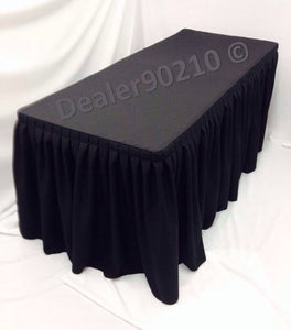 4' Fitted Polyester Double Pleated Table Skirt Cover W/top Topper Shows Black""