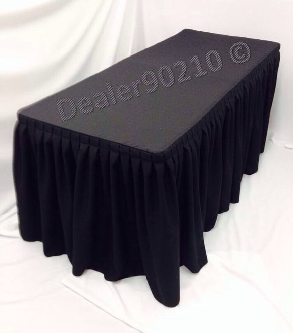 4' Fitted Polyester Double Pleated Table Skirt Cover W/top Topper Shows Black