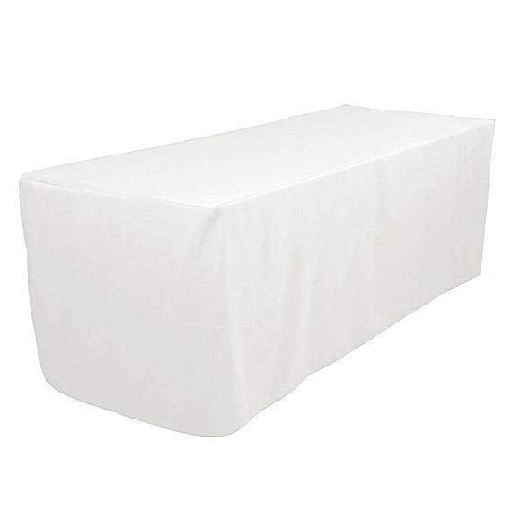 6' Ft. Fitted Polyester Tablecloth Trade Show Booth Wedding Table Cover White