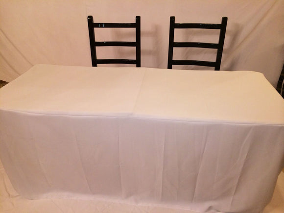 8' Fitted Polyester Tablecloth OPEN BACK Table Cover Booths Trade Show - White