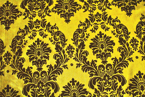 Yellow Black Flocking Damask Taffeta Velvet Fabric 58