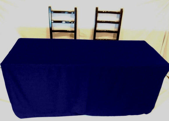 4' Ft Fitted Polyester Tablecloth Slit Back Tablecover Trade Show Booth 18 Color