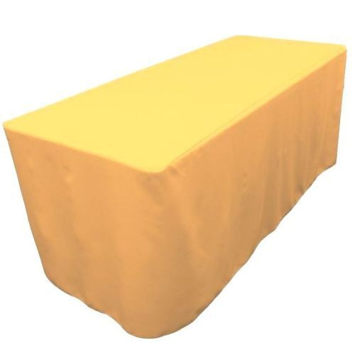 8' Ft. Fitted Polyester Table Cover Wedding Banquet Event Tablecloth  Yellow
