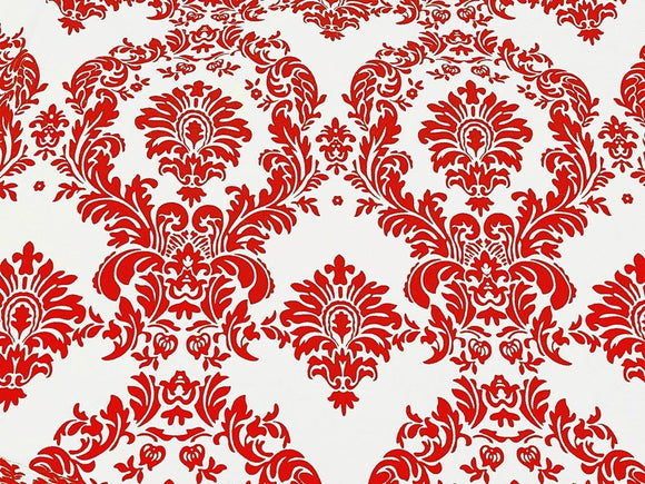 Red And White Flocking Damask Taffeta Velvet Fabric 58