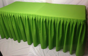 6' Fitted Polyester Double Pleated Table Skirt Cover W/top Topper Apple Green""