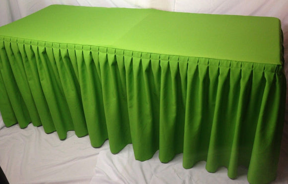 6' Fitted Polyester Double Pleated Table Skirt Cover W/top Topper Apple Green