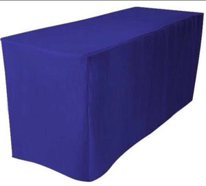 8' Ft. Fitted Polyester Tablecloth Trade Show Booth Dj  Table Cover Royal Blue""
