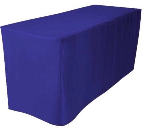 8' Ft. Fitted Polyester Tablecloth Trade Show Booth Dj  Table Cover Royal Blue