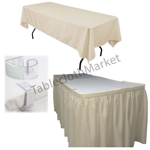 Polyester Pleated Table Set Skirt Skirting 21' Ft  + Clip + Topper Media Day