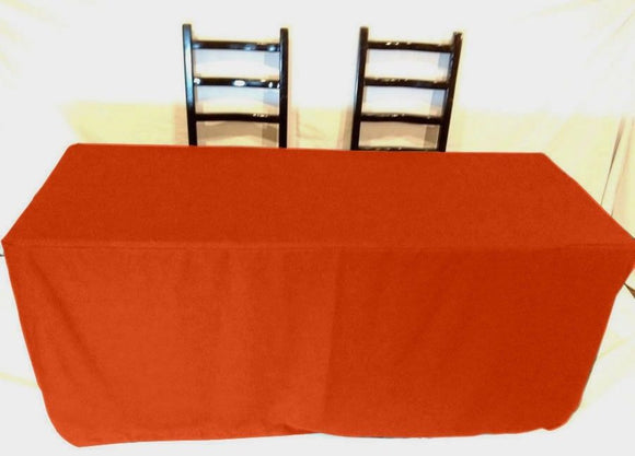 5' Ft Fitted Polyester Tablecloth Slit Back Tablecover Trade Show Booth 18 Color