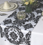"25 Pack Flocked Taffeta Damask 12"" X 108"" Top Table Runner Black White Wedding"""