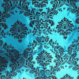 "10 Yards Turquoise Black Flocking Damask Taffeta Velvet Fabric 58"" Flocked Decor"""
