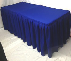4' Ft. Fitted Polyester Double Pleated Table Skirt Cover W/top Topper Royal Blue""