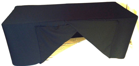 5' Ft. Fitted Slit Open Back Polyester Tablecloth Trade Show Table Cover Black