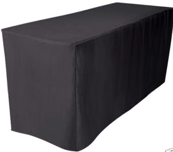 8' Ft. Fitted Polyester Table Cover Wedding Banquet Event Tablecloth  Black