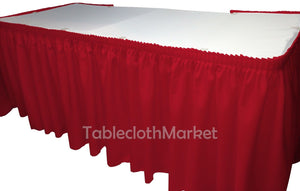 21' Polyester Pleated Table Skirt Red Skirting  Wedding Trade Show""