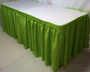 14' Polyester Pleated Table Skirt Skirting Trade Show Wedding Apple Green""