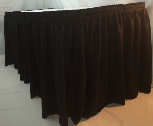 14' Black Polyester Pleated Table Skirt Skirting  Wedding Catering Booths