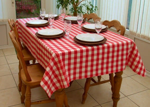 "Checkered Tablecloths 60""—132""  Rectangular Gingham 100% polyester 4 COLORS"""
