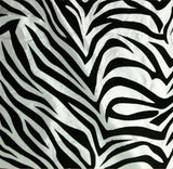 "60"" White Black Flocking Zebra Taffeta Fabric 3 Ft Flocked Animal Print Fabric"""