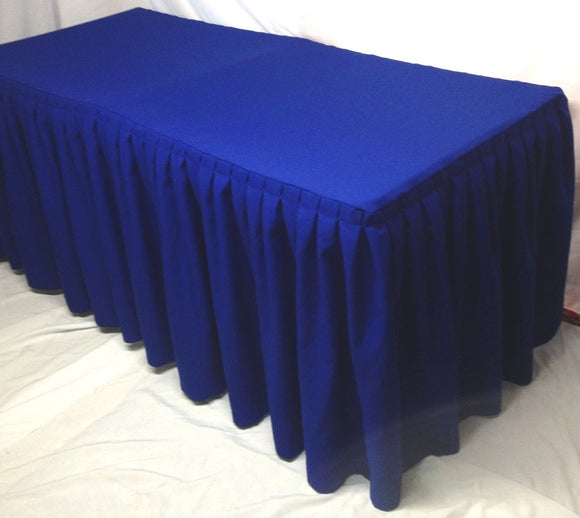8' Fitted Polyester Double Pleated Table Skirting Cover W/top Topper  Royal Blue